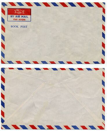 post scripts: image of classic vintage air mail envelope Stock Photo