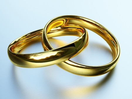 wedding symbol: fine 3d image of classic gold rings background
