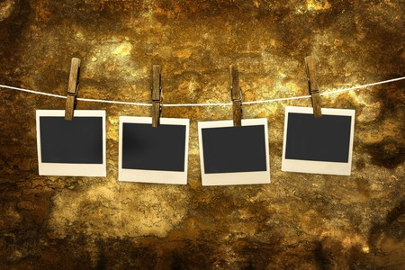 classic old photo Held By Clothespins with grunge background Stock Photo - 4155587