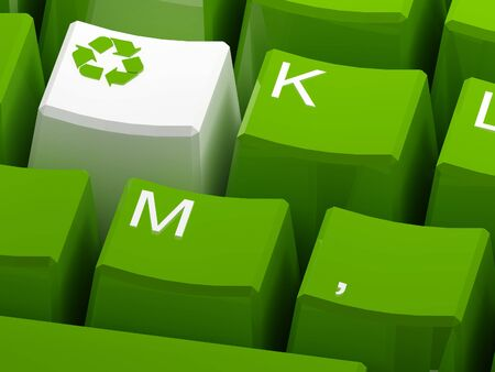 ecology  environment: Recycle symbol button on green keyboard 3d