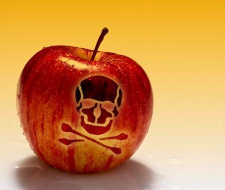 multa imagen de veneno manzana roja sobre fondo blanco