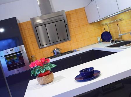 modern wood kitcken with orange tiles background Stock Photo - 4307453