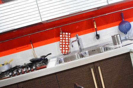 modern wood kitchen modern style background Stock Photo - 4308603