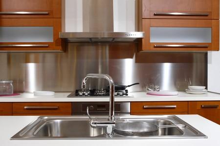stainless steel sink: modern wood kitchen modern style background