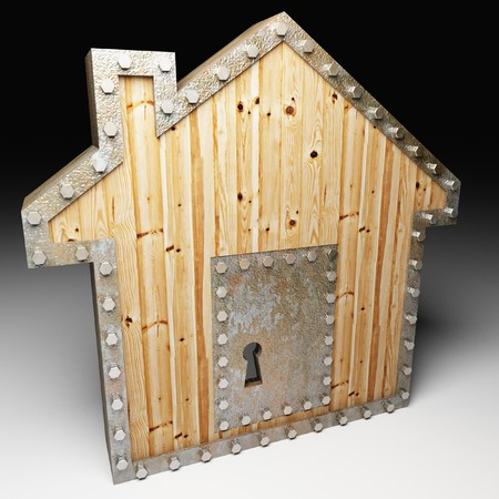 protecting: image 3d of safe house metaphor background Stock Photo
