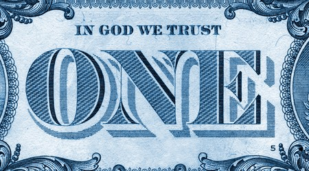fine detail close up of one american dollar photo