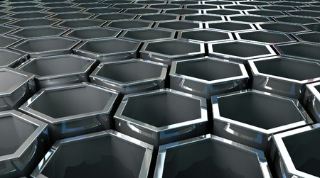fine image 3d of steel hexagon background Stock Photo - 4188259