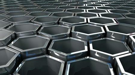 fine image 3d of steel hexagon background Stock Photo - 4188259