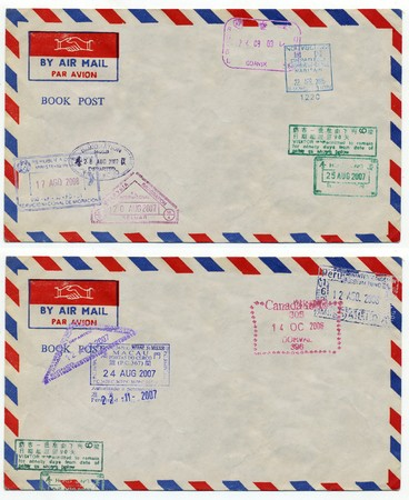 post scripts: image of classic vintage air mail envelope with stamp