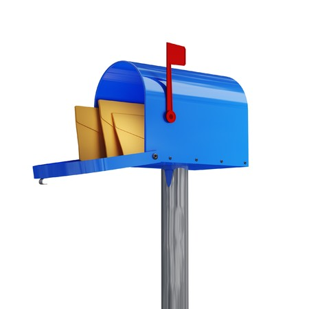 3d image of classic blue mail box with envelope photo