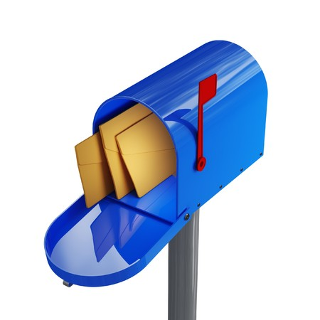 fine close up image 3d of blue mailbox Stock Photo - 4234890