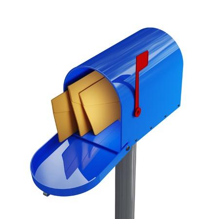 fine close up image 3d of blue mailbox photo