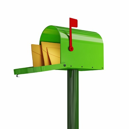 fine 3d image of classic green mailbox with envelope photo