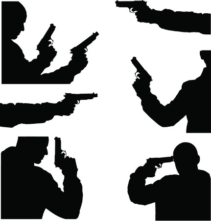 theft: fine black vector image of man and weapon