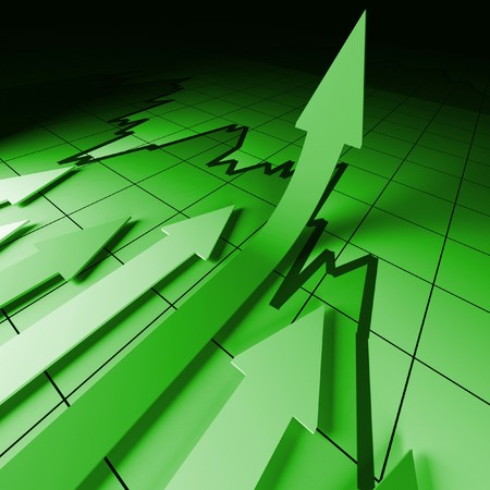 3d business background image, arrown on stat Stock Photo