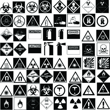flammable warning: fine hazard signs collection vector Illustration