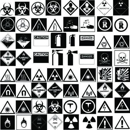 fine hazard signs collection vector Illustration