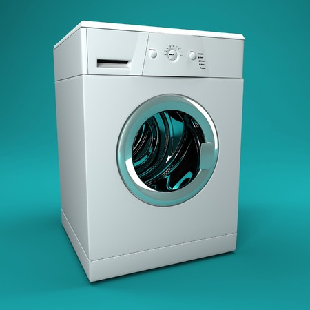 scrunch: fine image 3d of classic washing machine background Stock Photo