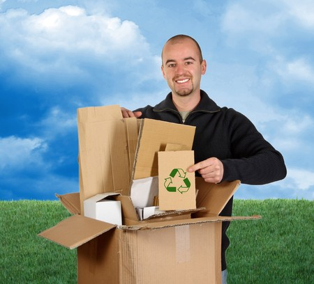 reserve: fine image 3d of green lawn and sky background man recycling paper