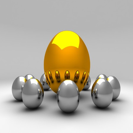 3d image of silver and golden eggs easter background Stock Photo - 4547912