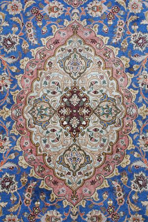 wool rugs: fine detail of persian classic carpet background Stock Photo