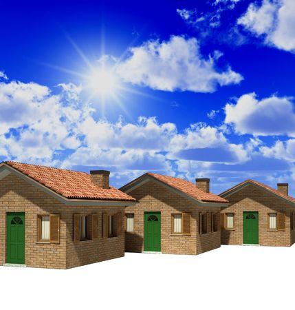 house and blue sky 3d illustration real estate background Stock Illustration - 4635867