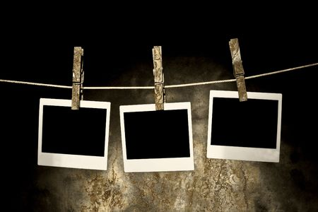 classic old photo Held By Clothespins with grunge background Stock Photo - 4635881