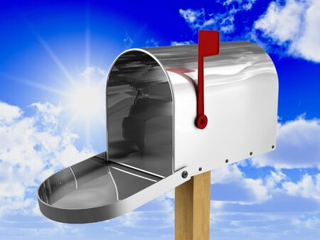 fine 3d image of classic american metal mailbox photo