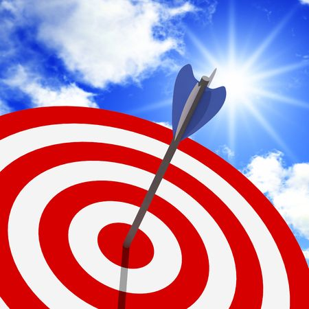 classic target 3d with arrow metaphoric success background photo