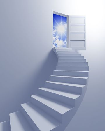 fine image 3d of stair and open door, metaphoric illustration of freedom illustration