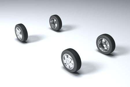 Four wheels 3d image fine illustration background illustration
