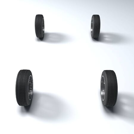 flat tyre: Four wheels 3d image fine illustration background