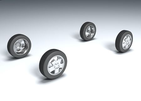 four in one: Four wheels 3d image fine illustration background