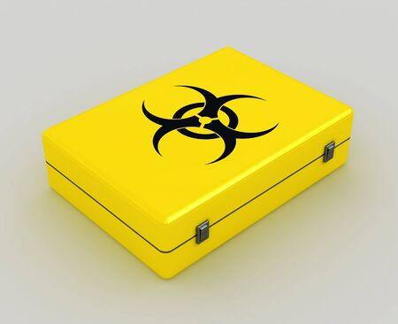 protecting: biohazard 3d yellow case metaphor image of danger