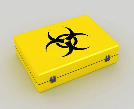 the bacteria signal: biohazard 3d yellow case metaphor image of danger