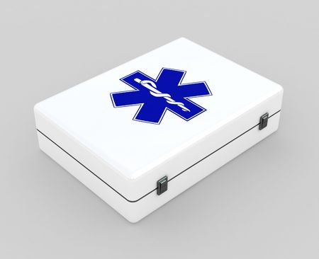 First aid kit case concept isolated on white photo