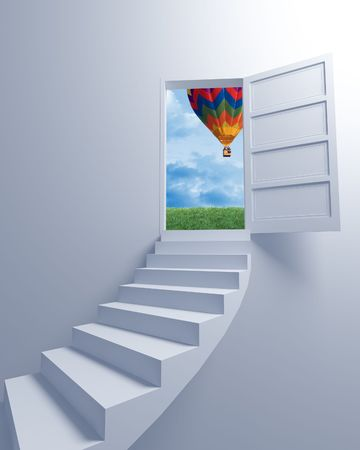high rise buildings: Stairway to the freedom and balloon 3d image background Stock Photo