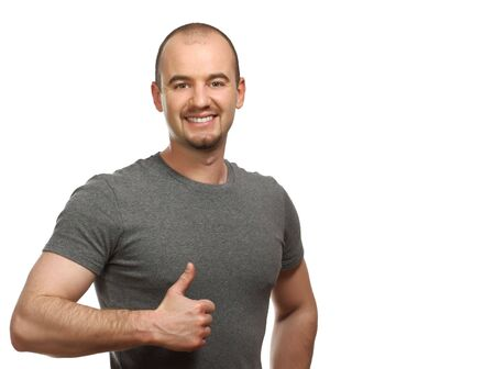 fine portrait of young caucasian man on white background photo