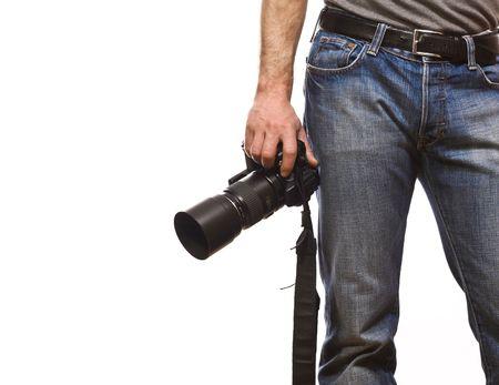 reportero: detalle de fot�grafo aisladas sobre fondo blanco Foto de archivo