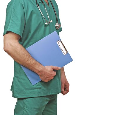 isolated detail of doctor with green clothes Stock Photo - 4766483