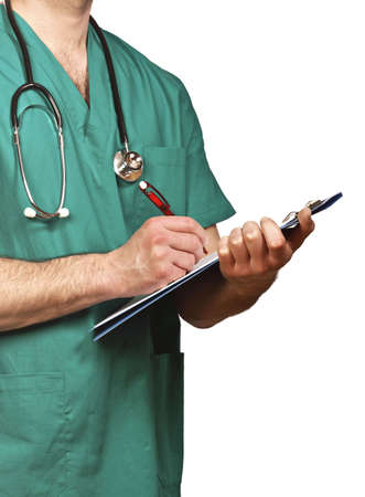 isolated detail of doctor with green clothes photo
