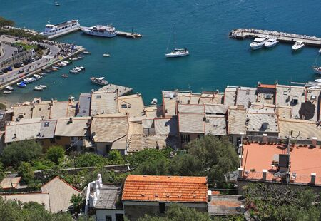 Porto venere, cinque terre, liguria, famous holiday place in italy, view from the castle photo