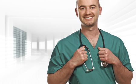 fine portrait of smiling young doctor in modern building Stock Photo - 4798281