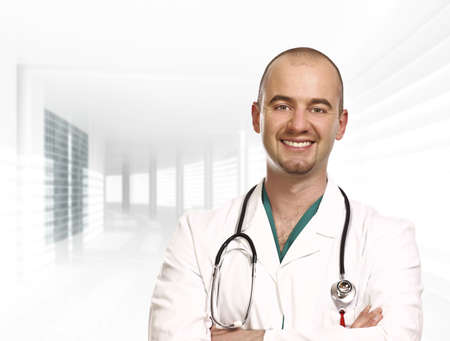 fine close up portrait of doctor isolated and modern building Stock Photo - 4798285