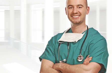 fine close up portrait of doctor and white building  background Stock Photo - 4798284