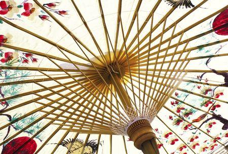 japones bambu: asi�tico paraguas detalle decoradas a mano cerca Foto de archivo