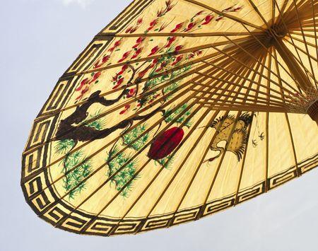 asian umbrella detail handmade decorated close up photo