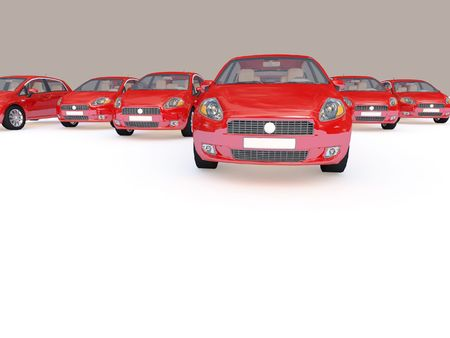 3d illustration of modern red cars on white plane Stock Illustration - 4799575