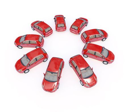 illustration of red 3d cars in ring shape isolated on white Stock Illustration - 4799576
