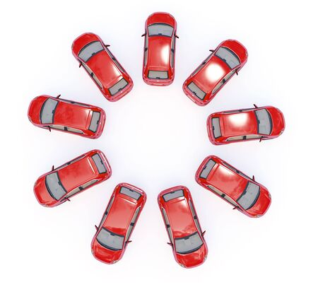 illustration of red 3d cars in ring shape isolated on white Stock Illustration - 4799596